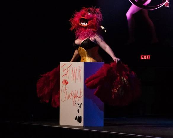 Vivienne Vermuth does the Chik-Fil-A Dance as Animal from The Muppets at the Viva Dallas Burlesque presentation of Dirty Politics at Lakewood Theater - Nov. 2nd, 2012 (Daniel Work/Special Contributor)