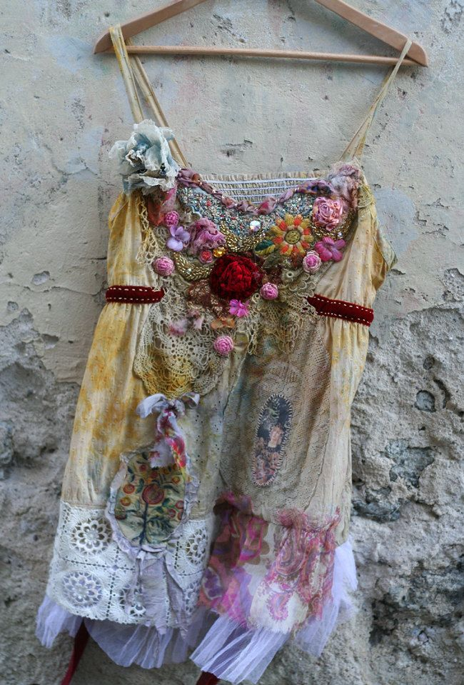 Ruby rose romantic shabby chic tunic with old by FleursBoheme