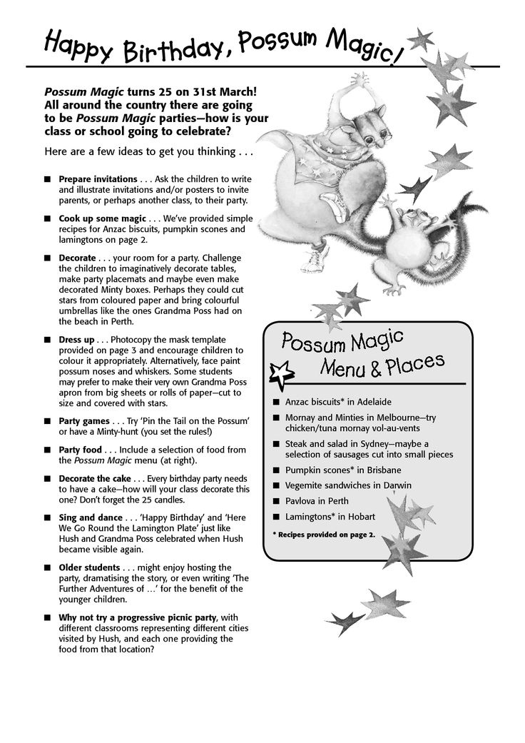 possum magic colouring sheets