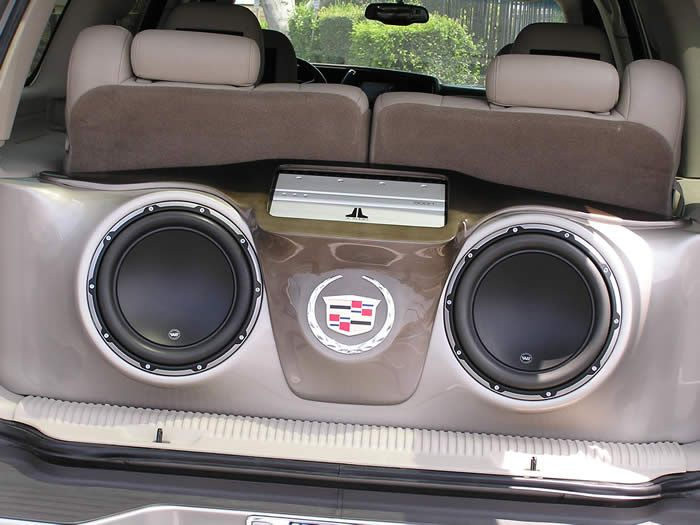 speakers in box. glass speaker systems set up for cars | fiberglass custom sub box in a cadillac escalade speakers q