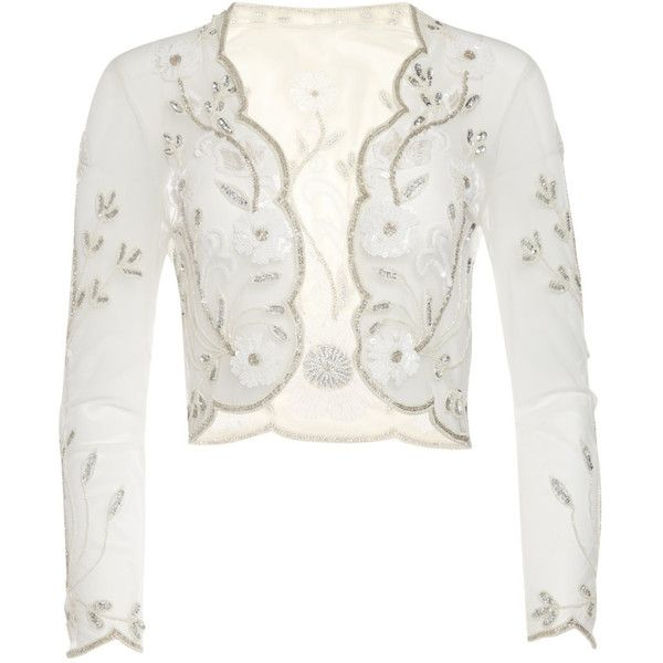 us18 uk22 aus22 eu50 Plus Size Off White 20s Tess Flapper Wedding... ($79) ❤ liked on Polyvore featuring outerwear, jackets, light yellow, women's clothing, plus size womens jackets, plus size slip, open front jacket, long sleeve bolero jacket and off white jacket