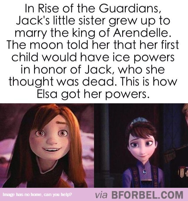"How Elsa Got Her Powers…well this destroys the whole ""romance of Elsa and Jack Frost"" pics.... Elsa would be his niece.... Ew. Lol."
