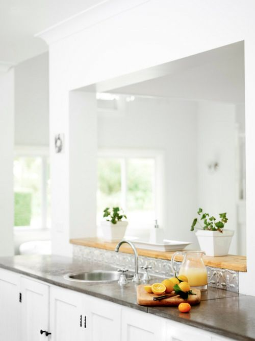 Pressed metal splashback.  White House photographed by Toby Scott ♥ Бяла къща заснета от Тоби Скот | 79 Ideas