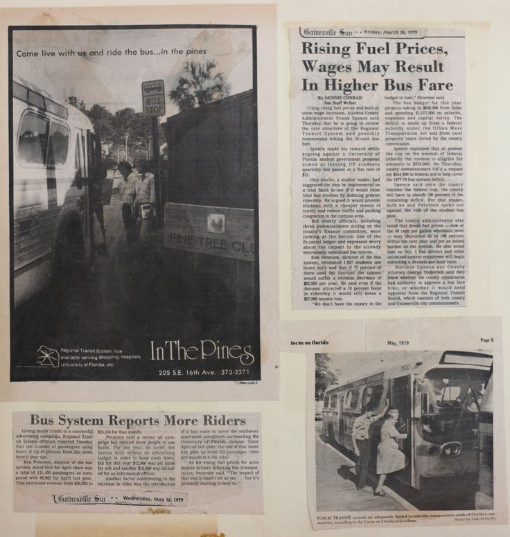 "News Articles, RTS ad ""In The Pines"" ad ""Bus system reports more riders"" -Sun 5/16/79 ""Rising fuel prices, wages may result in higher bus fare"" 3/30/79 ""Public transit"" photo -Focus on Florida. May, 1979"