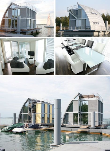 Sail-Inspired German Houseboats of Modern Steel & Glass  From steeltec37,  this modular design uses steel frame and glass infill elements to create a lightweight core living space – one side, however, bends to deflect direct sun, wind, waves and spray, while also creating a more private enclosure.