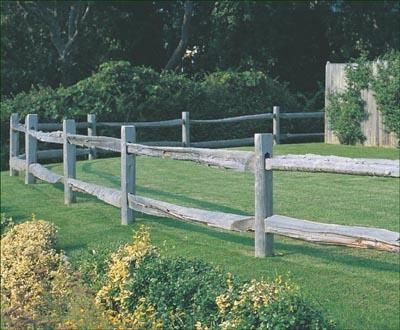 Cedar Split Rail - Around the pool, the property or the farm our Split Rail seems always to be right at home. Rails are scarfed-end hand split cedar. Lapped installation.