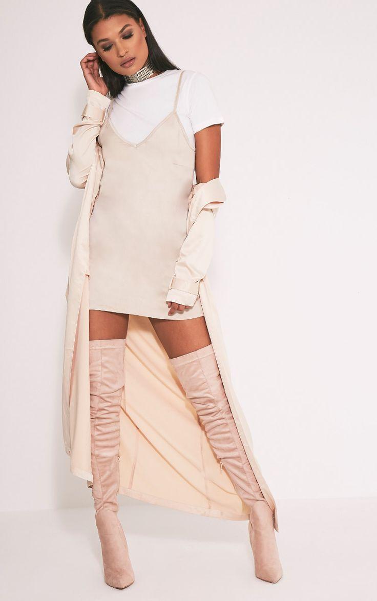 Celest Champagne Satin Duster Mac - Coats & Jackets - PrettylittleThing PrettyLittleThing