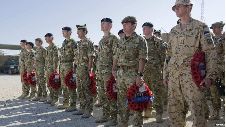 Remembrance Day events were not limited to the UK. British military personnel took part in a commemorative parade at Lashkar Gah base in Helmand province, Afghanistan.