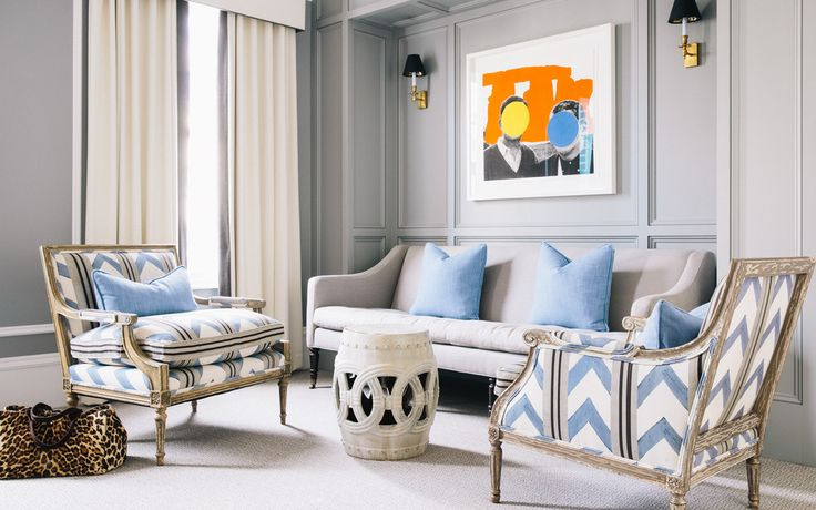 The periwinkle-blue-and-white upholstery was hand-blocked in Italy; designer Susan Greenleaf sourced the fabric through Sue Fisher King. | Lonny