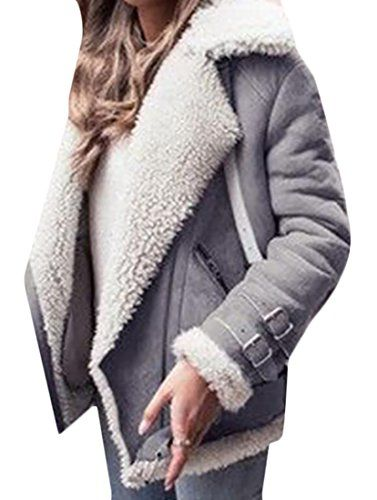 a55bb9fc133 M2MO Womens Winter Short Suede Lamb Wool Coat Shearling Jacket Grey US 2XL     You can get additional details at the image link. (This is an affiliate  link)