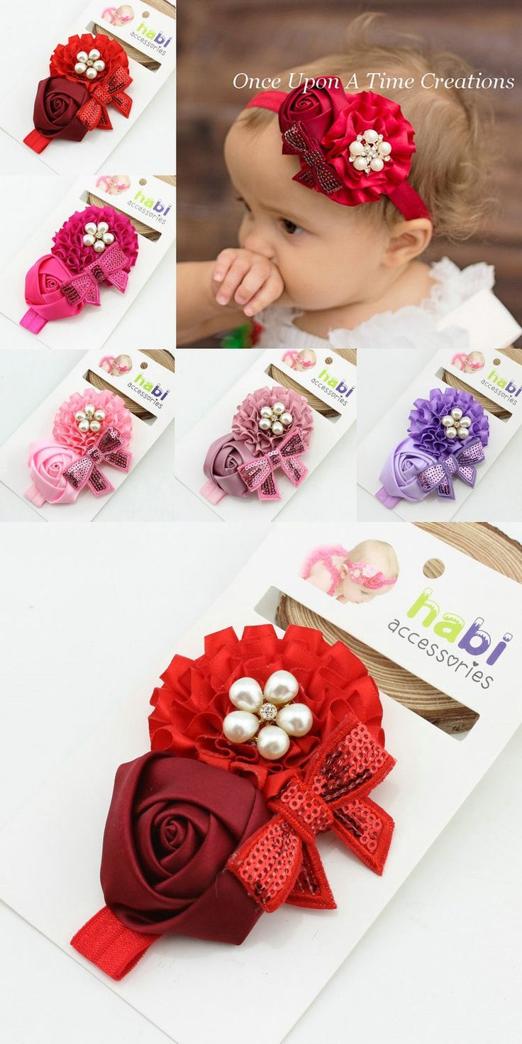 Hair bow button accessories - New 2016 Hot Sale Fashion Girl Flower Red With Alloy Button Headband New Born Baby Head