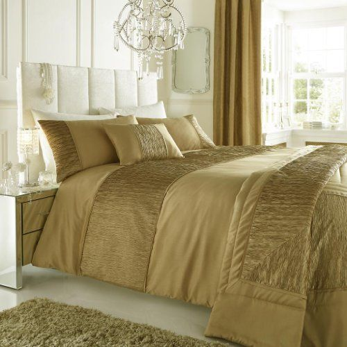 Gold King Size Duvet Quilt Cover With Crinkle Faux Silk