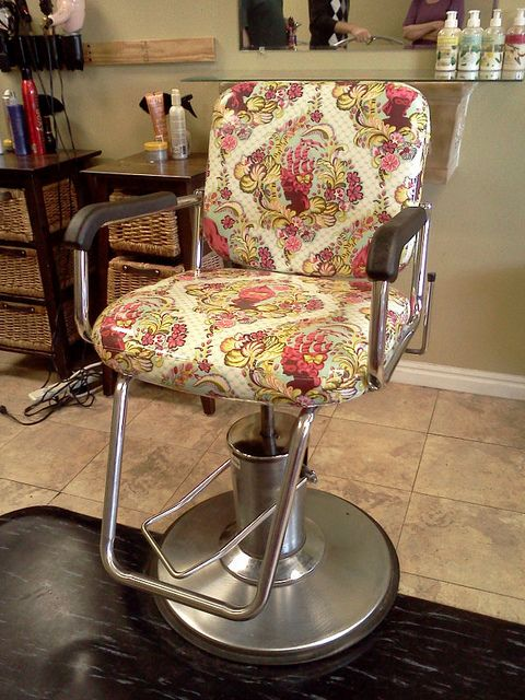 """A hair salon in Salt Lake City, UT covered their salon chairs in Parisville ""Cameo"" laminate fabric! So awesome!"""