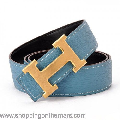 Hermes 1:1 design Reversible Clemence Leather Belt Blue with H buckle $119