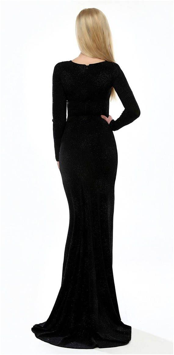❖ Black Glitter Bodycon dress. The dress mostly shiny in sun, lamp or candle light. ❖ If you wish other neckline, sleeves length- write it in note. ❖ The lining comes below the knees. ❖ Material is stretchy, quality and flexible. ❖  #maxi #long #black #dress #evening_dress #glitter #fashion #style