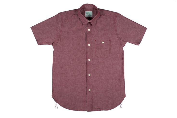 """8 oz. Japanese chambray, selvedge side gussets, chainstitch runoff, and a hidden placket covering the button backs - meet Roy's latest creation, the """"Big Bro"""" Red Chambray Short Sleeve Baja Shirt. Read: http://rwrdn.im/roy-baja-big-bro-shirt"""