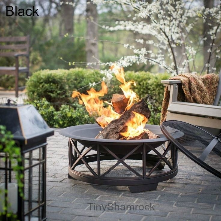 Wood Fire Pit Outdoor Fireplace Patio Campfire Back Yard BLACK Fall Bonfire #OutdoorWoodFirepits