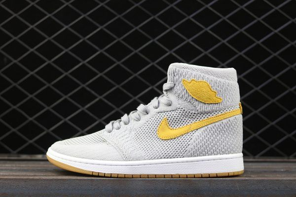 new arrival 7c968 11569 Air Jordan 1 Flyknit Wolf Grey Golden Harvest For Sale