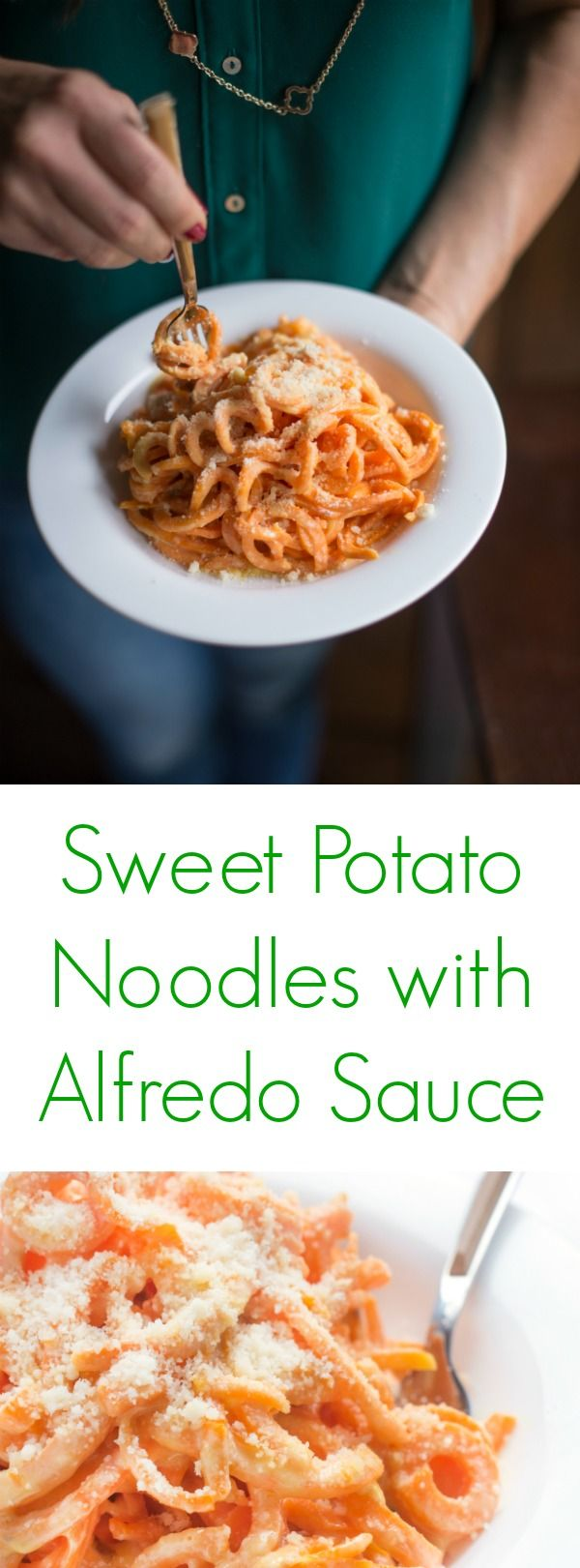 A healthy alternative to traditional fettuccini alfredo, this naturally gluten free pasta recipe is made with nutrient-rich sweet potato noodles.