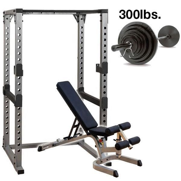 Body-Solid Power Rack Package with 300lb. Set  GPR378P300 - Includes Power Rack GPR378, Heavy Duty Adjustable Bench GFID71, 300 lb. Olympic Weight Plate Set & Bar OSB300S