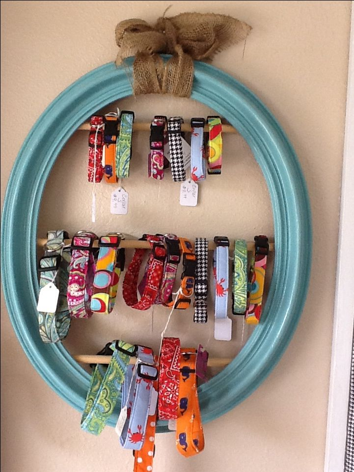 Dog collar display made from old picture frame - rectangle frame with chicken wire behind it to also clip items too would be how I'd go.