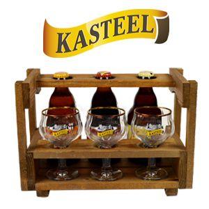 In deze houten Kasteelbier bar kunt u genieten van 3 verschillende Kasteelbieren.  – Kasteel Blond 33cl – Kasteel Tripel 33cl – Kasteel Rouge 33cl  U proeft dit bier in de drie speciale degustatieglaasjes. www.multicadeau.nl