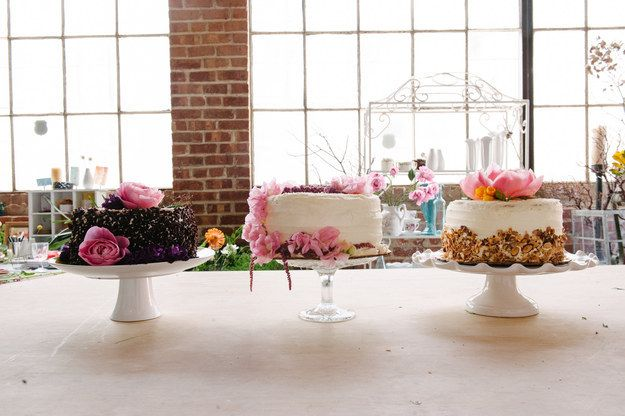 If you want to create a more elegant look, go with round grocery store cakes and put them on pretty cake stands.