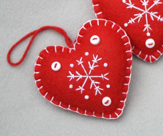 Cuore di Natale feltro ornamenti fatto a mano di PuffinPatchwork