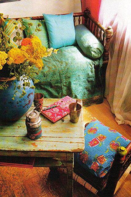 hippie un nid douillet tout en couleur