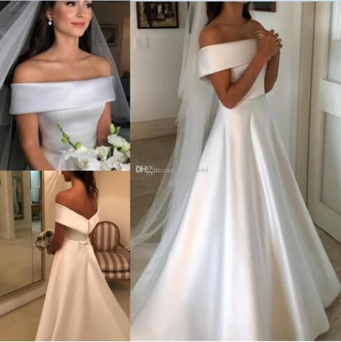 2019 Modest A-Line Wedding ceremony Attire Seaside Button Coated Elegant Backyard Yard Bridal Costume White Satin Plus measurement Off Shoulder