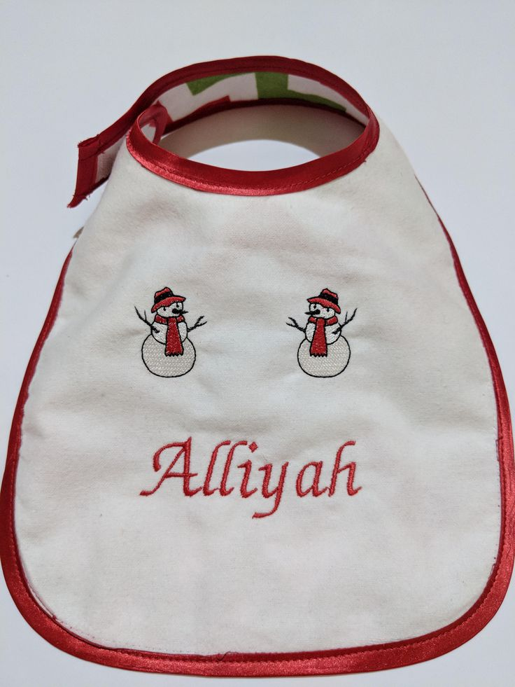 Personalized Christmas Baby Bib - Custom made - Embroidered by BabySeeSee on Etsy