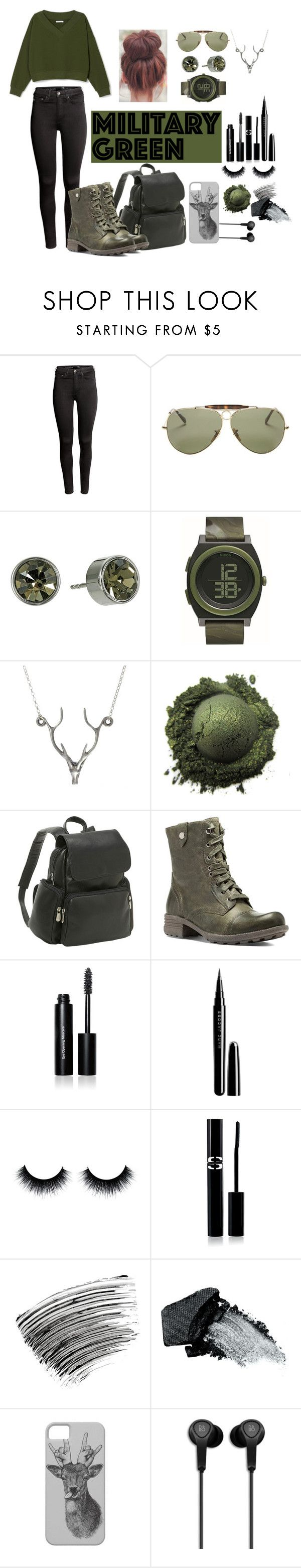 """""""Attention! Go Army Green - Contest Entry"""" by unicornlover6280 ❤ liked on Polyvore featuring H&M, Ray-Ban, Michael Kors, Nixon, Lee Renee, Le Donne, Cobb Hill, Bobbi Brown Cosmetics, Marc Jacobs and Sisley Paris"""