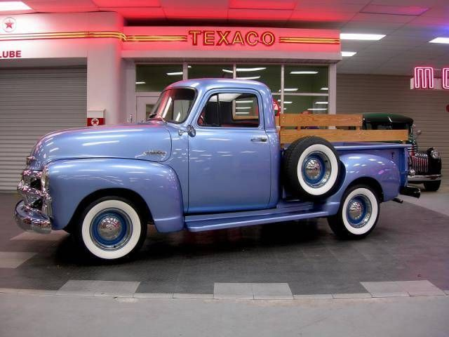 1955 Chevrolet 3100 Pick-Up Truck. I'd drive this!!!  Looks like a form of purple to me!?  Periwinkle??
