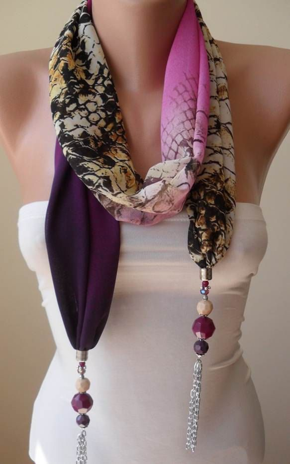 Scarf Necklace - Jewelry Scarf - Golden Colors - Purple and Leopard -  via Etsy.