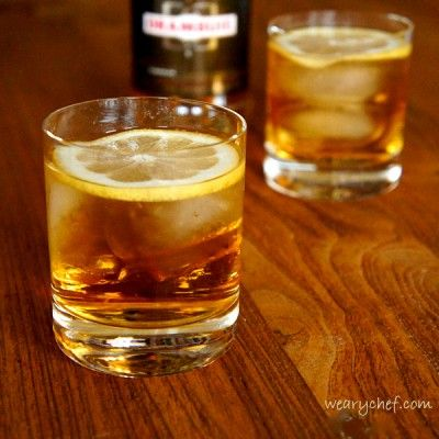 Rusty Nail Cocktail: 1 ½ oz. Scotch (Johnnie Walker - Black Label) ½ oz. Drambuie Garnish with a lemon twist