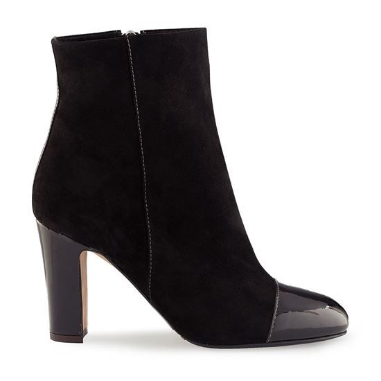 winter boots, leather boots, shoes leather, suede and patent leather, fur inside, tunith gomma sole, side zipper closure, 85mm heel, ankle boots VERN CAM 4025 NERO