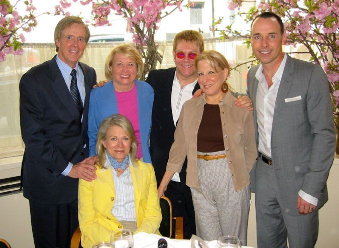 Social Diary 4/23/04 - Lunch at Michael's with Liz Smith, Candice Bergen, Joe Armstrong, Bette Midler, Elton John, and David Furnish
