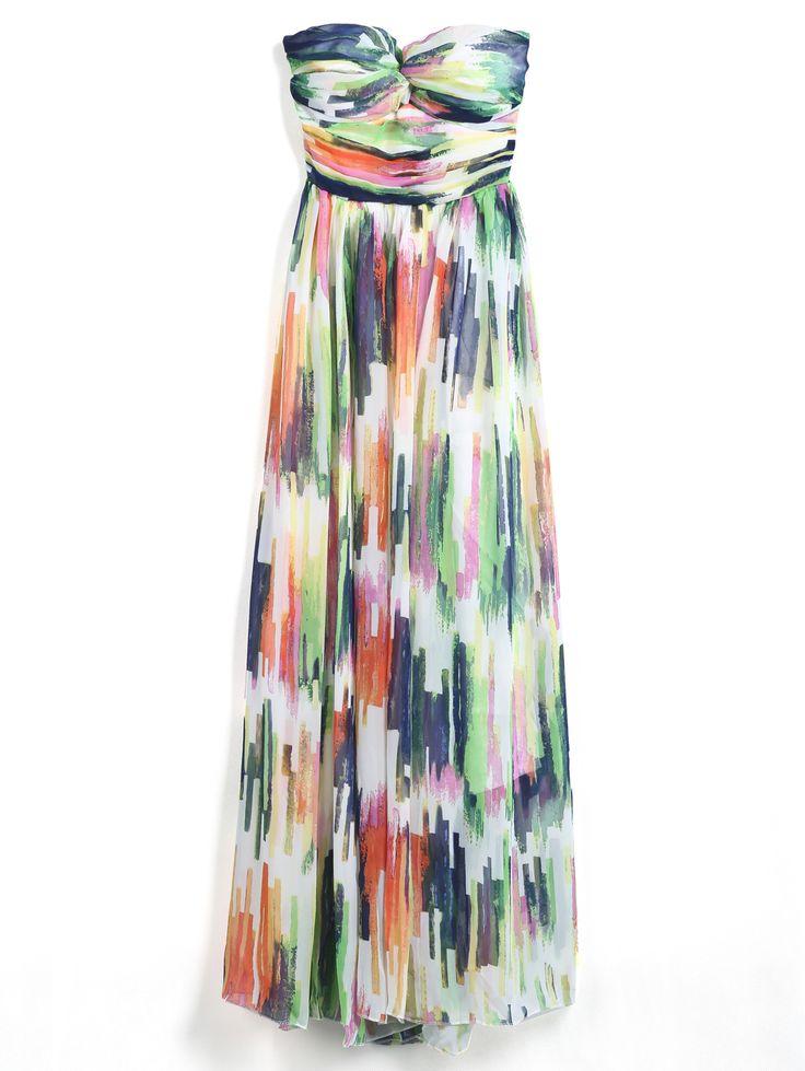Multicolor Strapless Graffiti Print Chiffon Dress 22.00 @sheinside