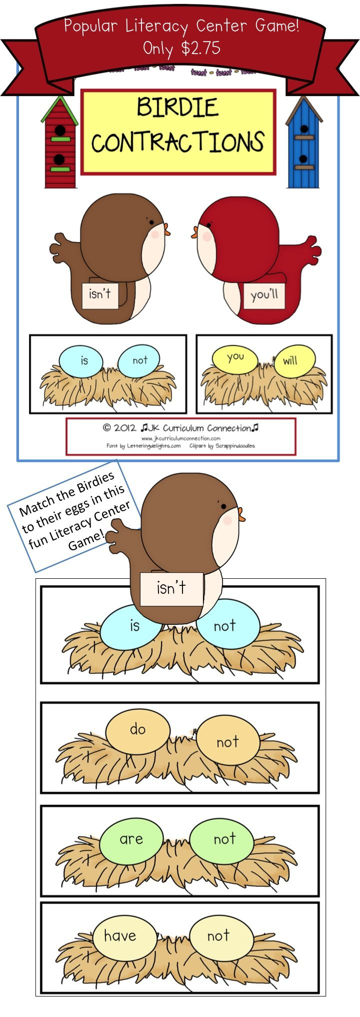 Birdie Contractions for Literacy Centers offers a variety of ways to use these adorable birds and nests to teach 20 contractions.  Colorful Display chart  and  2  Student worksheets included. $2.75http://www.teacherspayteachers.com/Product/Contraction-Game-Birdie-Contractions-Game-for-Literacy-Centers-227324