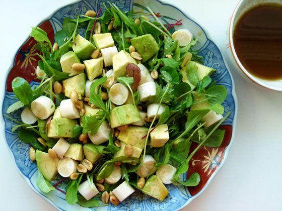 Salada de abacate palmito e molho ingles