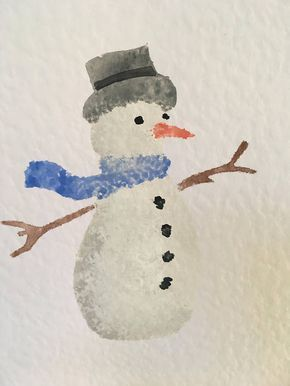 Hand painted Christmas card Snowman Watercolour