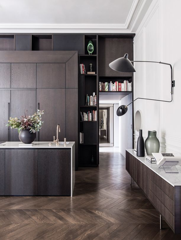 Gravity Home: Kitchen With Herringbone Floors In A Classic French Apartment