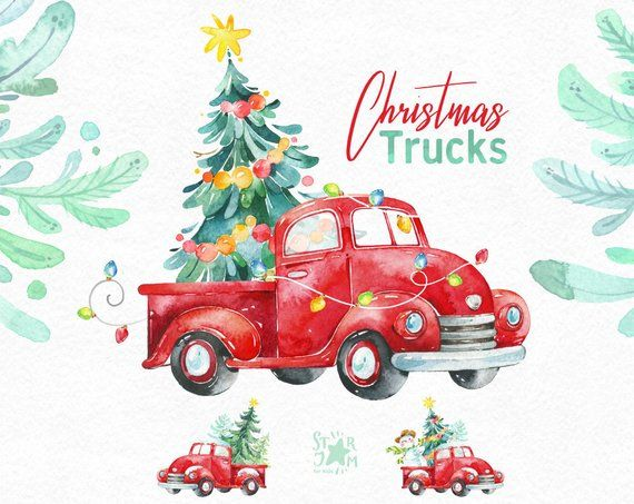 This Christmas Trucks Clipart Set Is Just What You Needed For The
