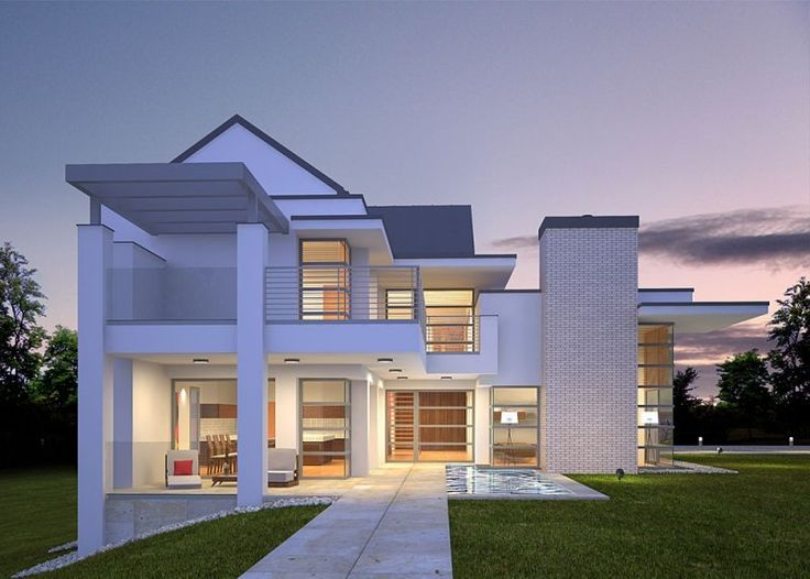 Dom jednorodzinny, piętrowy z garażem dwustanowiskowym.