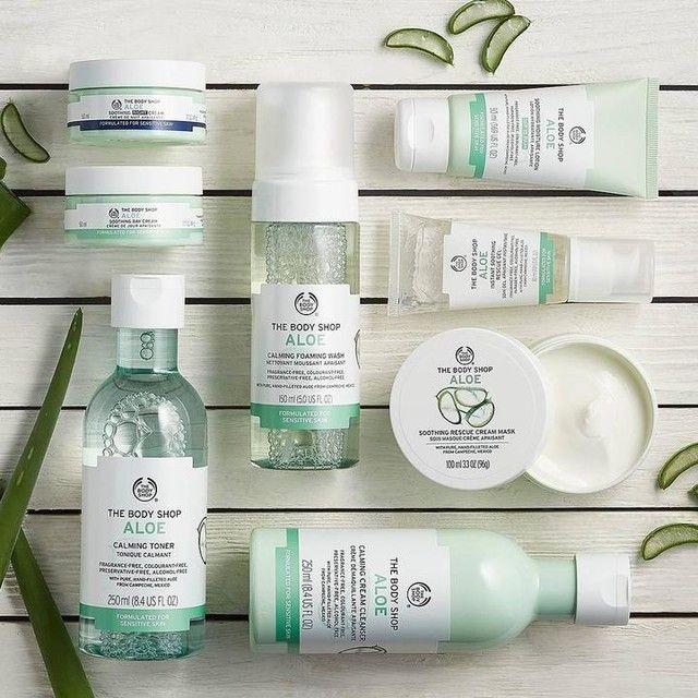 Aloe Vera bodyshop skin care range. Fragrance free, alcohol free, calming.