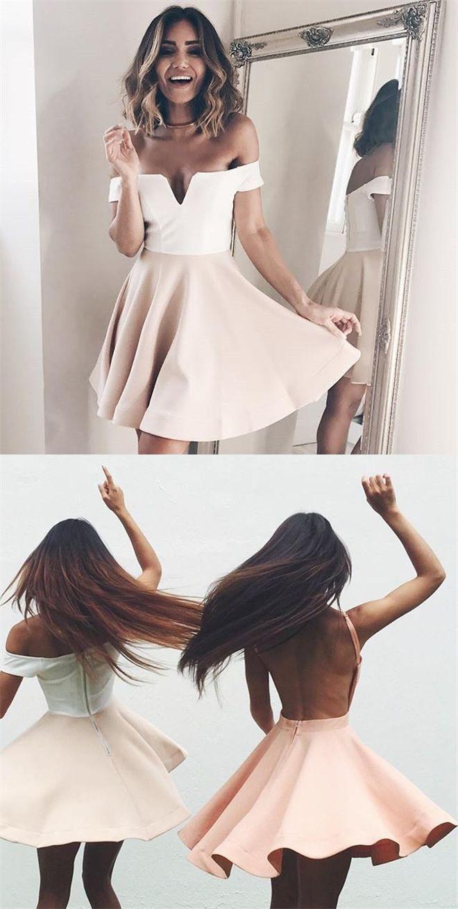 pink short sunmer dresses for teens, off the shoulder short