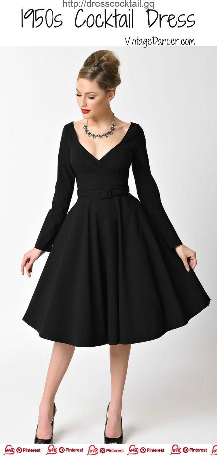 dress cocktail, 2019, Robes de cocktail et robes de soirée des années 1950  noires 15c7a290885e