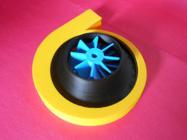 Attach TanyaAkinora's Centrifugal Compressor to a motor and and feel the wind blow through your hair! That's probably not using the design to its fullest, but it's a start. Print, assemble, and ponder the possibilities.