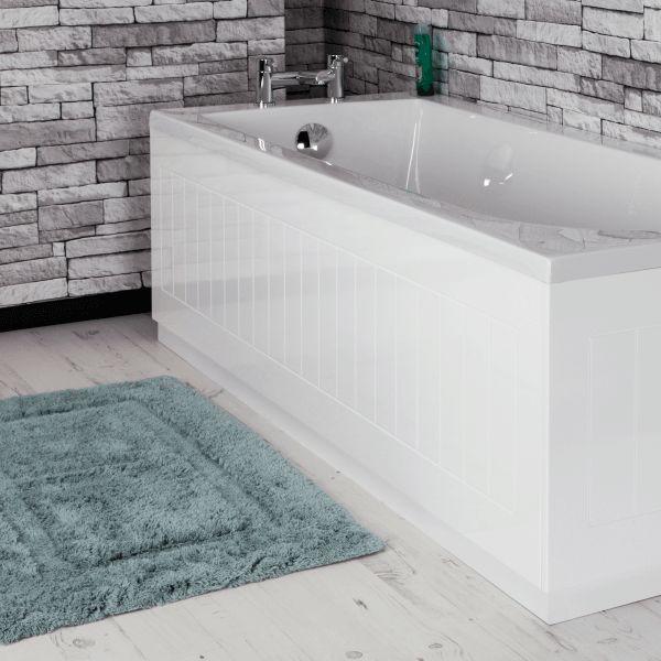 Bloxburg Elegant Bathroom: Ceramica Tongue & Groove Bath Panel White 1700mm Front