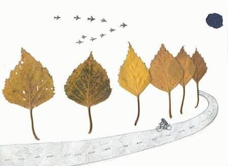 Фантазия из осенних листьев - аппликация на тему природы 8